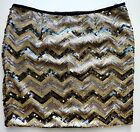 MISS SELFRIDGE Sequin SILVER GOLD Zig Zag Pencil Party Disco Skirt PETITES £39