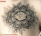 Large Black Rose Temporary Tattoo with Flower Arm Band - Stylish Water Resistant