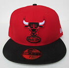 Chicago Bulls Red on Black Fitted Cap Hat NBA New Era Size 7 1/8