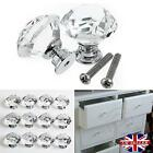 8/16/32 x Clear Crystal Glass Door Knobs Cupboard Drawer Cabinet Kitchen Handles