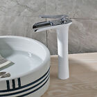 Bathroom White Painting Basin Faucet Single Chrome Handle Vessel Sink Mixer Tap
