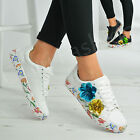 New Womens Ladies Floral Sparkle Lace Up Trainers Plimsoll Flower Sneakers Shoes
