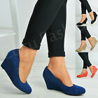 New Womens Ladies Slip On Court Pumps Wedges High Heels Party Shoes Size Uk 3-8
