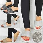 New Womens Ladies Diamante Comfy Sliders Flat Shoes Slippers Summer Sandals Size