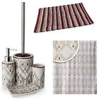 VICTORIAN RETRO STYLE DAMASK RANGE DELUX BATHROOM ACCESSORY SET RED WITH CREAM