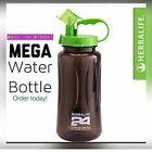 Herbalife 24Logo 1L/2L Sports Water Bottles Tritan Plastic Black with Green Lids image