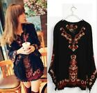 Black Women Embroidered Floral Boho Short Ethnic Tunic Mexican Gypsy Mini Dress