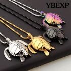 Men's New Sea Turtle Pendant  Stainless Steel  Necklace Chain Colorful Jewelry image