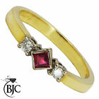 BJC® 18ct Yellow gold Ruby & Diamond trilogy size O engagement dress ring  R13