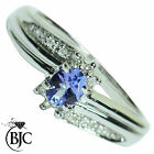 BJC® 9ct White gold Tanzanite & Diamond cluster size N Twist ring R67
