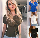 USA Fashion Womens Ladies Casual Loose Tops Short Sleeve T-Shirt Summer Blouse