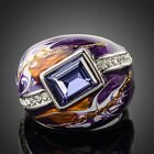 Platinum Plated Stellux Austrian Crystal Multicolour Oil Painting Ring MJ0092