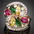 Gorgeous Flower Gold Plated 8pcs Multicolour Cubic Zirconia Ring MJ0116