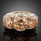 Sparkling Gold Plated 3pcs Gold Colour Stellux Austrian Crystal Ring MJ0081