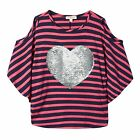 Bluezoo Kids Girls' Pink And Navy Striped Sequinned Heart Cold Shoulder Top