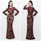 PRIMAVERA COUTURE 1401 BURGUNDY SEQUINES LONG SLEEVE GOWN 499 ALL SIZES