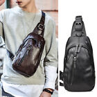 Men's Faux Leather Sling Bag Chest Pack Shoulder Backpack Daypack Single Strap