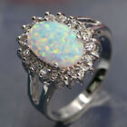 Natural White AUSTRALIAN FIRE Jewelry Gem Silver RING SIZE 6/7/8/9