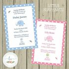 LITTLE ELEPHANT Personalised Invitations Christening Baptism Boy Girl Pink Blue