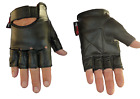 Unisex Fingerless Leather Motorcycle Motorbike Gloves Gym Gloves Biker