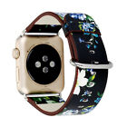British rural style Flower Genuine Leather Strap Band for Apple Watch series 4/3