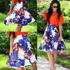 Usa Women Floral Print Mini Skirt High Waist Mini Dress Flared Pleated Skirt