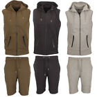 Mens Sleeveless Gym Jogging Activewear Tracksuit Hooded Top Short Bottoms Suit