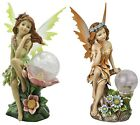 Garden Lighted Fairy Statue Lawn Yard Path Globe Solar Light Art Ornament Decor