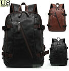 Mens Vintage Backpack School Bag Travel Satchel PU Leather Laptop Bag Rucksack