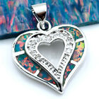 Heart Style Fire Opal & Zircon Women Jewelry Gemstone Silver Pendant P200