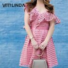 One Shoulder Hollow Out Button Designer Women Dress  Robe Femme A-Line Mini Pink