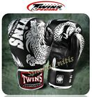 TWINS BOXING GLOVES MUAY THAI FBGV-49 BLACK SILVER  DRAGON PATTERN GENUINE
