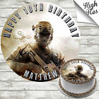 CALL OF DUTY ROUND EDIBLE BIRTHDAY CAKE TOPPER DECORATION PERSONALISED