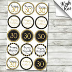 "15X 30TH BIRTHDAY 2"" ROUND EDIBLE CUPCAKE TOPPERS"