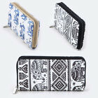 New Zipper Around Long Wallet Clutch Card Coin Holder PU Leather Tribal Elephant