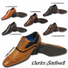 Mens Smart Formal Casual Lace Up Office Work Faux Leather Suede Brogues Shoes