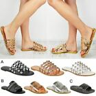 Womens Ladies Sliders Studded Diamante Sandals Slides Flat Mules Espadrille Size