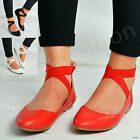 Womens Ladies Ankle Strap Ballerinas Dolly Pumps Back Zip Comfy Shoes Size Uk