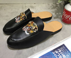 MEN Tiger Embroidered Loafers Appliqué Mules Slide Metal Buckle Slippers Shoes