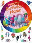 """EDIBLE ROUND 7,5"""" TROLLS BIRTHDAY CAKE TOPPER AND 13 STANDING TOPPERS"""