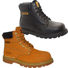 MENS  LEATHER SAFETY LACE UP WORK ANKLE HIGH  ANTI-SLIP STEEL TOE CAP BOOTS