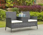 Rattan Loveseat 2 Seater Chair Glass Table Patio Companion Garden Furniture Set