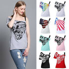 Fashion Women Skew Neck Butterfly Print T Shirts Casual Loose Tees Top Plus Size