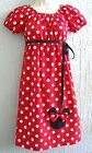 Minnie Mouse Applique 70's Insprd.Lady Dress Size S M L XL  Cotton Adjustable.
