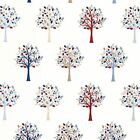 Mulberry Tree Blue Luxury Cotton Oilcloth (Wipe Clean Tablecloth) Gloss