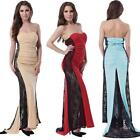 Strapless Maxi Prom Dress with Lace Sides Sz 8-14 Cocktail Party Evening Gown
