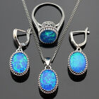 Beautiful Oval Fire Blue Opal Set 925 Silver Necklace Pendant Earrings Ring