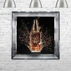Framed Tennesee Whisky Bottle Hand Made with Liquid Art and Glitter 75 x 75 cm