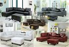 Maker New Pu Leather Living Room Sectional Sofa Set in Black/White