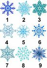 Blue Ice Snow Flake Xmas Small or Large Sticky White Paper Stickers Labels NEW